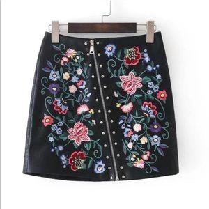 Dresses & Skirts - Floral embroidered vegan leather skirt